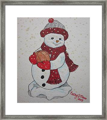 Snowman Playing Basketball Framed Print by Kathy Marrs Chandler