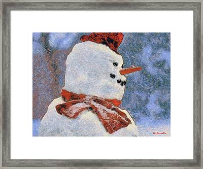 Snowman Portrait Framed Print