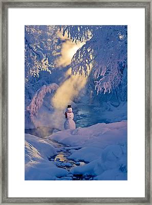 Snowman Standing Next To A Stream Framed Print by Kevin Smith
