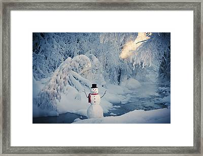 Snowman Standing Next To A Stream With Framed Print by Kevin Smith