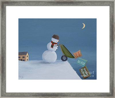 Snowman Survival Strategies Framed Print