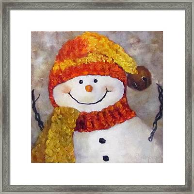 Framed Print featuring the painting Snowman V - Christmas Series by Cheri Wollenberg