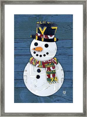 Snowman Winter Fun License Plate Art Framed Print