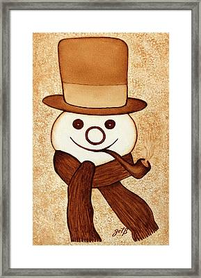 Snowman With Pipe And Topper Original Coffee Painting Framed Print by Georgeta  Blanaru