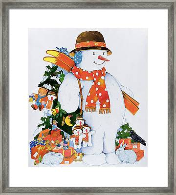 Snowman With Skis Framed Print by Christian Kaempf