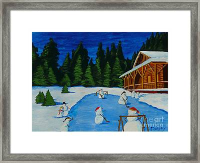 Snowmans Hockey Two Framed Print by Anthony Dunphy