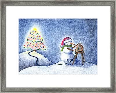 Snowman's X'mas Framed Print