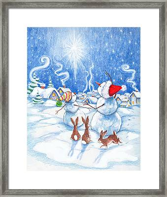 Snowmen And Christmas Star Framed Print by Peggy Wilson