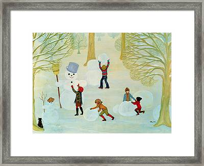 Snowmen Framed Print by Ditz