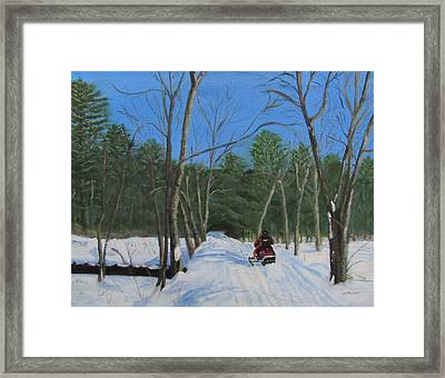 Snowmobile On Trail Framed Print