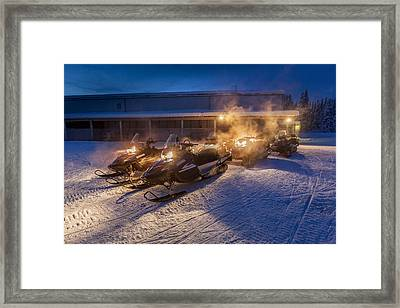 Snowmobiles In The Freezing Cold Framed Print