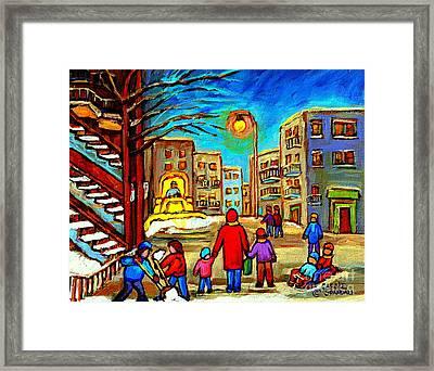 Snowplow On Osborne Street Whimsical Montreal Winter Scene Painting By Artist Carole Spandau Framed Print by Carole Spandau