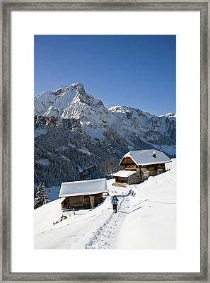 Snowshoeing In Griesalp And Steineberg Framed Print by Martin Zwick
