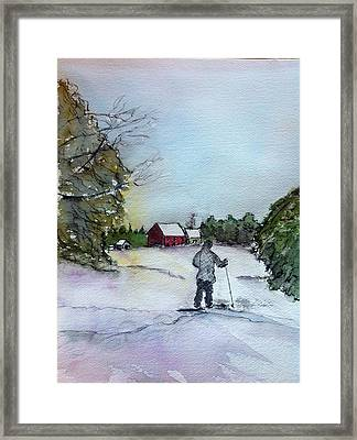 Snowshoeing In Northern Maine Framed Print by Peggy Bosse