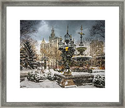 Snowstorm At City Hall Framed Print by Chris Lord