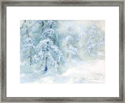 Framed Print featuring the painting Snowstorm by Joy Nichols