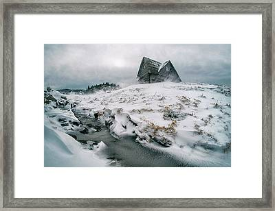 Snowstorm On Mountain Framed Print