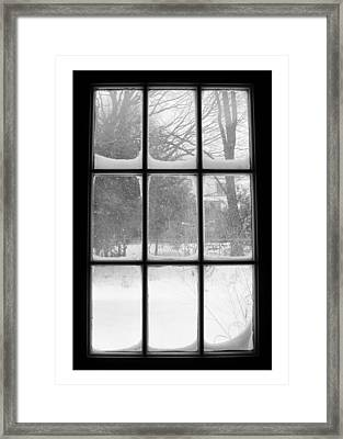 Snowstorm Outside The Windowpanes Framed Print