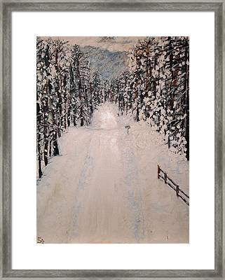 Framed Print featuring the painting Snowy 27th by Leslie Byrne