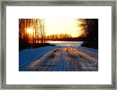 Snowy Anchorage Sunset Framed Print