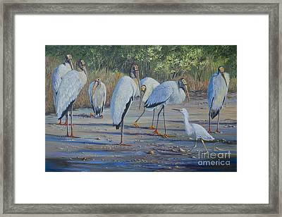 Snowy And The Seven Storks Framed Print by AnnaJo Vahle