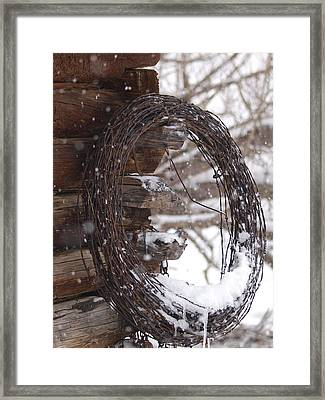 Snowy Barbed Wire Framed Print by Jenessa Rahn