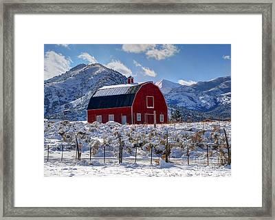 Snowy Barn In The Mountains - Utah Framed Print