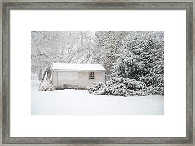 Snowy Barn Framed Print by Mary Timman