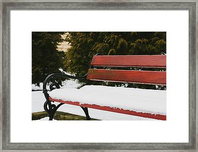 Snowy Bench Framed Print by Pati Photography