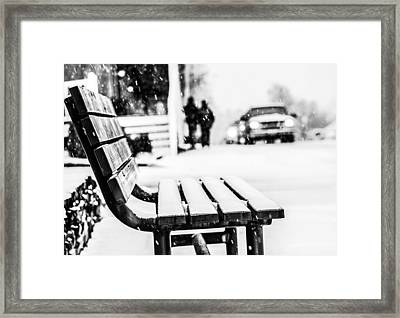 Snowy Bench Framed Print by Shelby  Young