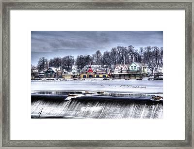Snowy Boathouse Row Framed Print by Mark Ayzenberg