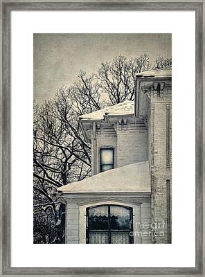 Snowy Brick House Framed Print by Jill Battaglia
