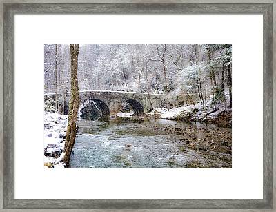 Snowy Bridge Along The Wissahickon Framed Print by Bill Cannon