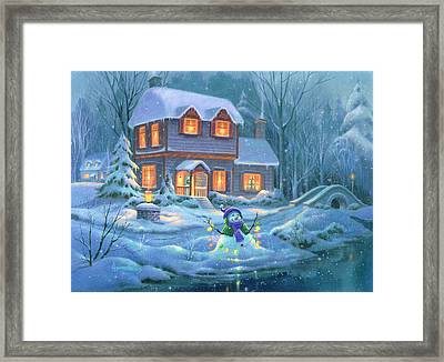 Snowy Bright Night Framed Print