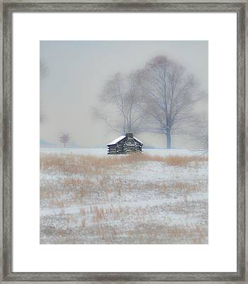 Snowy Cabin At Valley Forge Framed Print by Bill Cannon