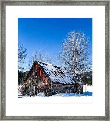 Snowy Cabin Framed Print by Robert Bales
