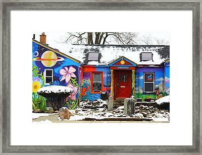 Snowy Cafe Framed Print