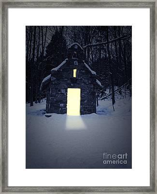 Snowy Chapel At Night Framed Print