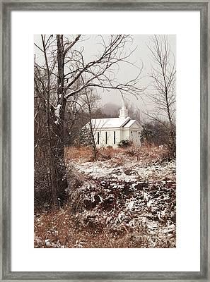 Snowy Chapel In The Wildwood Framed Print