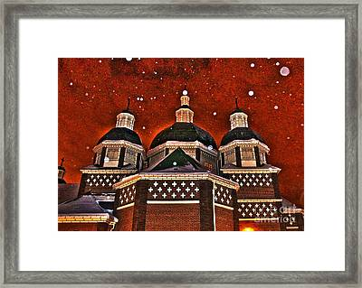 Framed Print featuring the photograph Snowy Christmas Night by Sarah Mullin