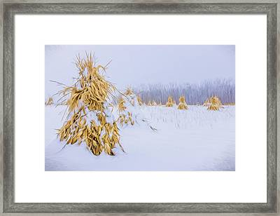 Snowy Corn Shocks - Artistic Framed Print