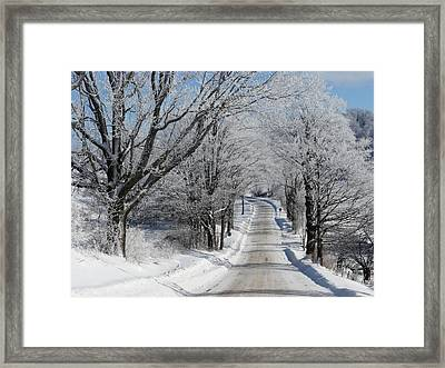 Snowy Country Road Framed Print