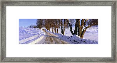 Snowy Country Road Framed Print by Panoramic Images