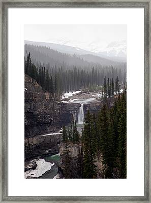 Snowy Crescent Falls Framed Print