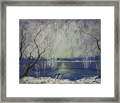 Snowy Day At The Lake Framed Print