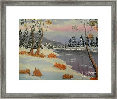 Snowy Day In Europe Framed Print by Pamela  Meredith