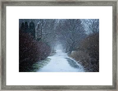 Snowy Day In Newport Framed Print by Allan Millora