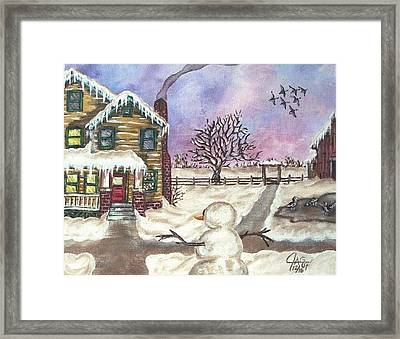 Framed Print featuring the painting Snowy Day by The GYPSY And DEBBIE