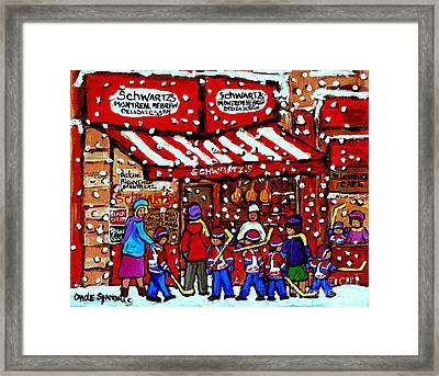 Snowy Day Montreal Paintings Schwarts Deli Smoked Meat After The Hockey Game Carole Spandau Art Framed Print by Carole Spandau