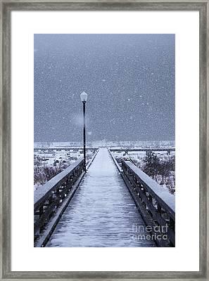 Snowy Day On The Boardwalk Framed Print